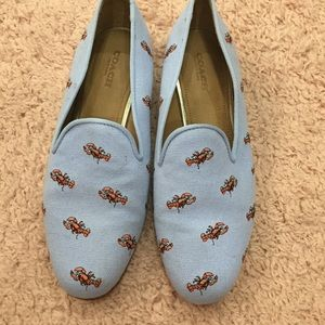 EUC coach lobster loafers blue 7